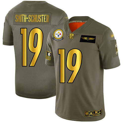 Steelers #19 JuJu Smith-Schuster Camo Gold Men's Stitched Football Limited 2019 Salute To Service Jersey