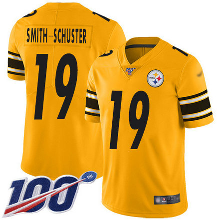 Steelers #19 JuJu Smith-Schuster Gold Youth Stitched Football Limited Inverted Legend 100th Season Jersey