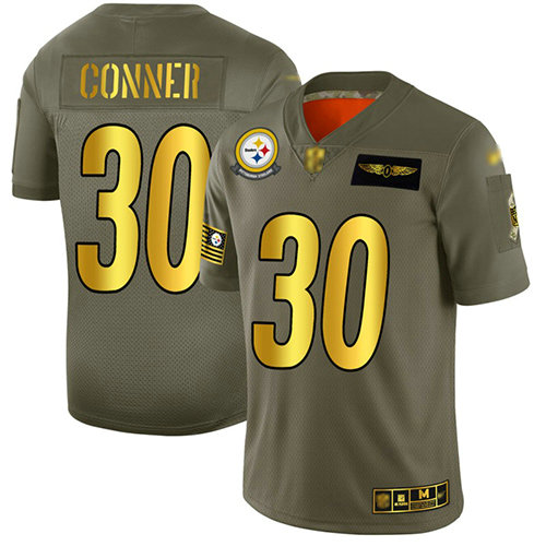 Steelers #30 James Conner Camo Gold Men's Stitched Football Limited 2019 Salute To Service Jersey