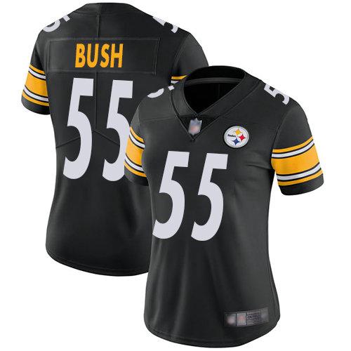 Steelers #55 Devin Bush Black Team Color Women's Stitched Football Vapor Untouchable Limited Jersey