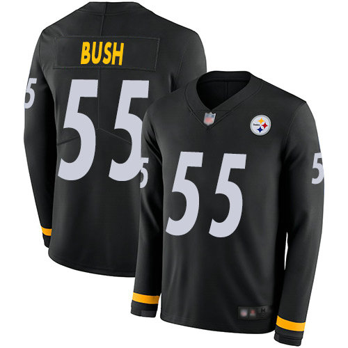 Steelers #55 Devin Bush Black Team Color Youth Stitched Football Limited Therma Long Sleeve Jersey