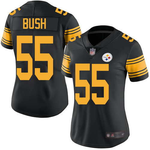Steelers #55 Devin Bush Black Women's Stitched Football Limited Rush Jersey