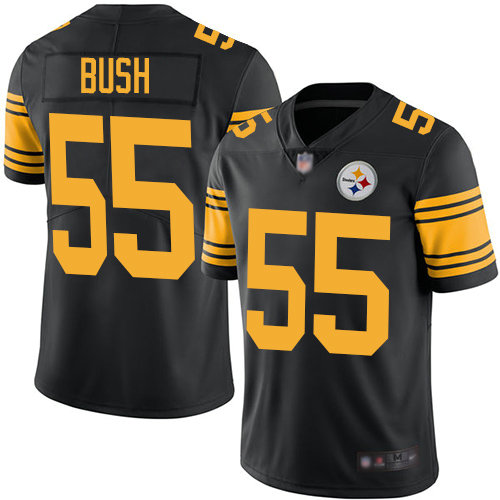 Steelers #55 Devin Bush Black Youth Stitched Football Limited Rush Jersey