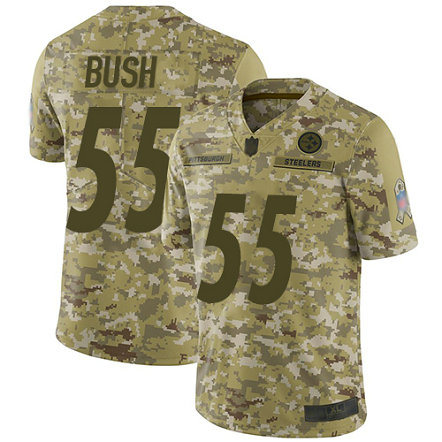 Steelers #55 Devin Bush Camo Men's Stitched Football Limited 2018 Salute To Service Jersey
