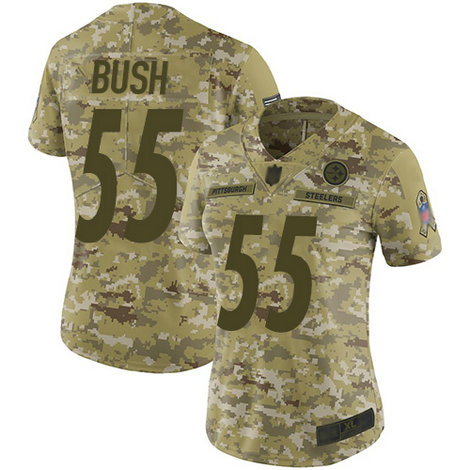 Steelers #55 Devin Bush Camo Women's Stitched Football Limited 2018 Salute to Service Jersey