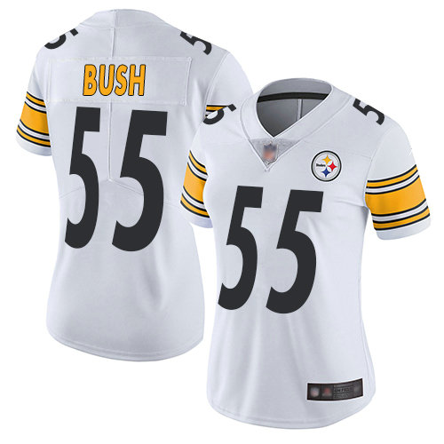 Steelers #55 Devin Bush White Women's Stitched Football Vapor Untouchable Limited Jersey