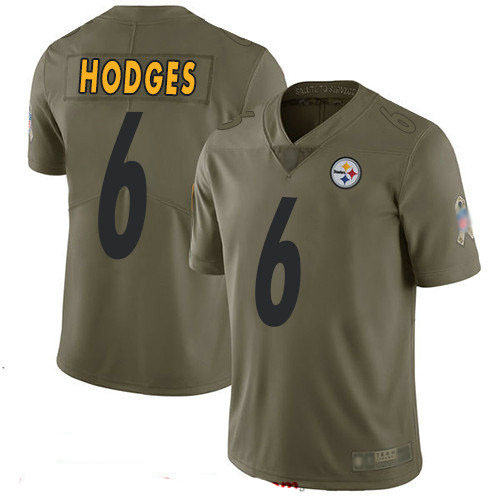 Steelers #6 Devlin Hodges Olive Men's Stitched Football Limited 2017 Salute To Service Jersey