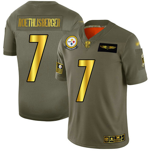 Steelers #7 Ben Roethlisberger Camo Gold Men's Stitched Football Limited 2019 Salute To Service Jersey