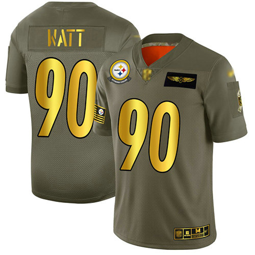 Steelers #90 T. J. Watt Camo Gold Men's Stitched Football Limited 2019 Salute To Service Jersey