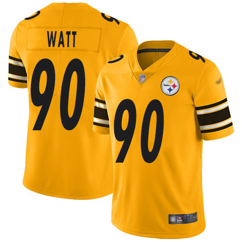 Steelers #90 T. J. Watt Gold Youth Stitched Football Limited Inverted Legend Jersey