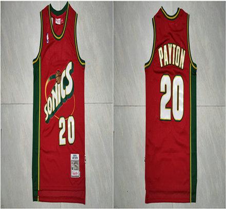 SuperSonics 20 Gary Payton Red 1997-98 Hardwood Classics Jersey