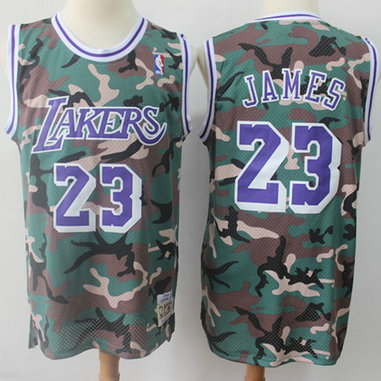 Swingman Lakers #23 LeBron James Camo Stitched Basketball Jersey
