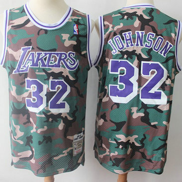 Swingman Lakers #32 Magic Johnson Camo Stitched Basketball Jersey