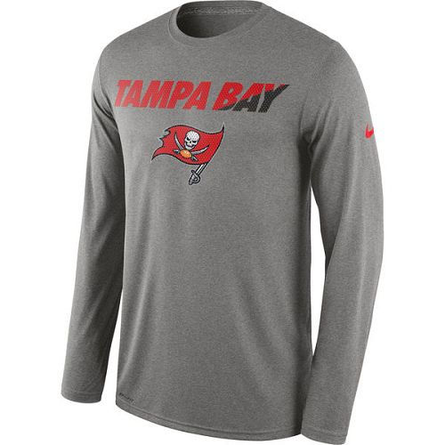 Tampa Bay Buccaneers Nike Heather Gray Legend Staff Practice Long Sleeves Performance T-Shirt