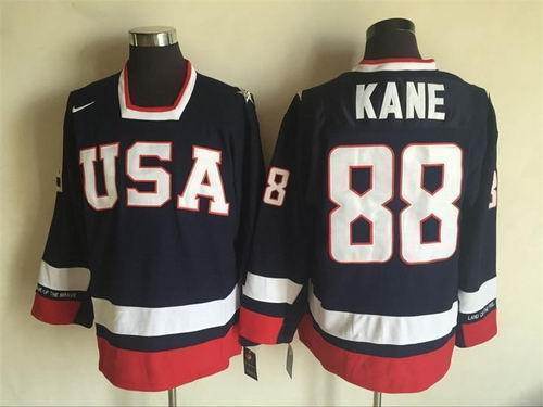 Team USA #88 Patrick Kane Navy Blue 2010 Olympic 1960 Throwback Jersey