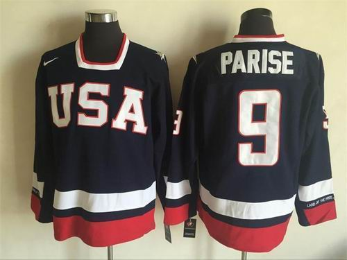 Team USA #9 Zach Parise Navy Blue 2010 Olympic 1960 Throwback Jersey