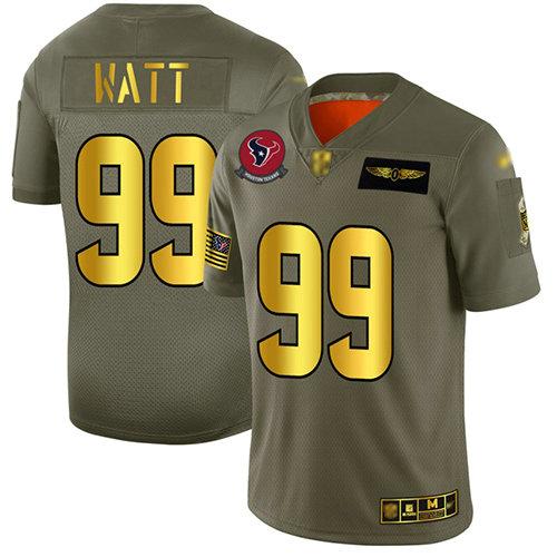 Texans #99 J.J. Watt Camo Gold Men's Stitched Football Limited 2019 Salute To Service Jersey