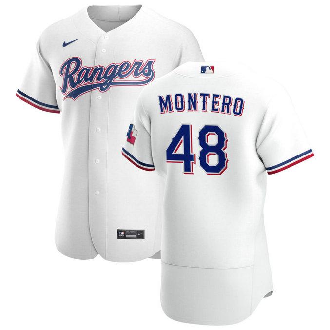 Texas Rangers #48 Rafael Montero Men's Nike White Home 2020 Authentic Player MLB Jersey