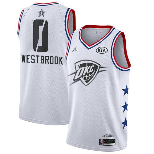 Thunder #0 Russell Westbrook White Basketball Jordan Swingman 2019 All-Star Game Jersey