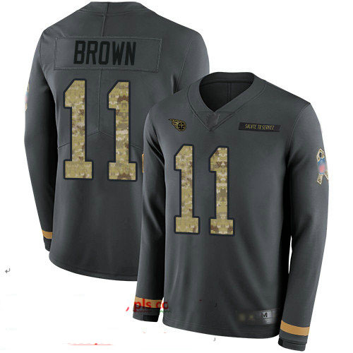 Titans #11 A.J. Brown Anthracite Salute to Service Youth Stitched Football Limited Therma Long Sleeve Jersey