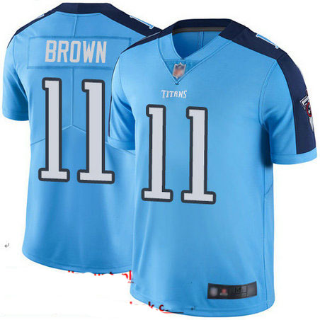 Titans #11 A.J. Brown Light Blue Youth Stitched Football Limited Rush Jersey