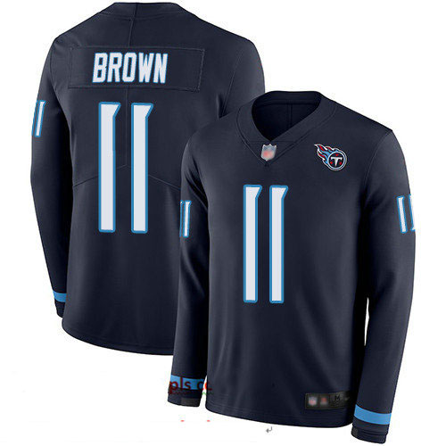 Titans #11 A.J. Brown Navy Blue Team Color Youth Stitched Football Limited Therma Long Sleeve Jersey