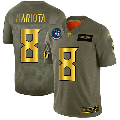 Titans #8 Marcus Mariota Camo Gold Men's Stitched Football Limited 2019 Salute To Service Jersey