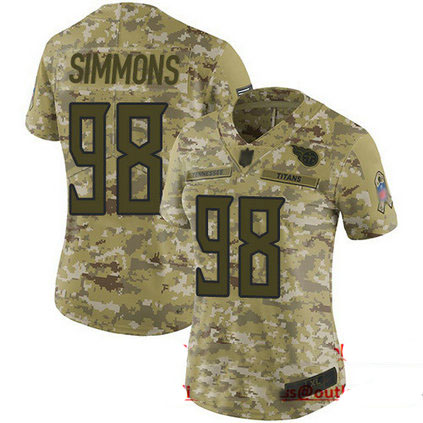 Titans #98 Jeffery Simmons Camo Women's Stitched Football Limited 2018 Salute to Service Jersey