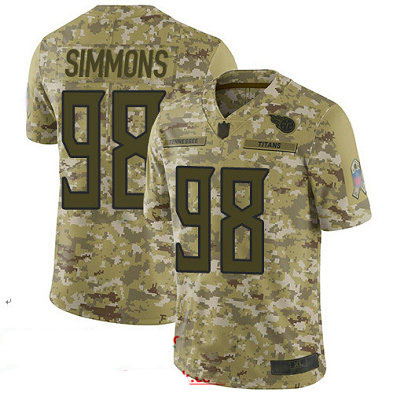 Titans #98 Jeffery Simmons Camo Youth Stitched Football Limited 2018 Salute to Service Jersey