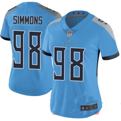 Titans #98 Jeffery Simmons Light Blue Alternate Women's Stitched Football Vapor Untouchable Limited Jersey