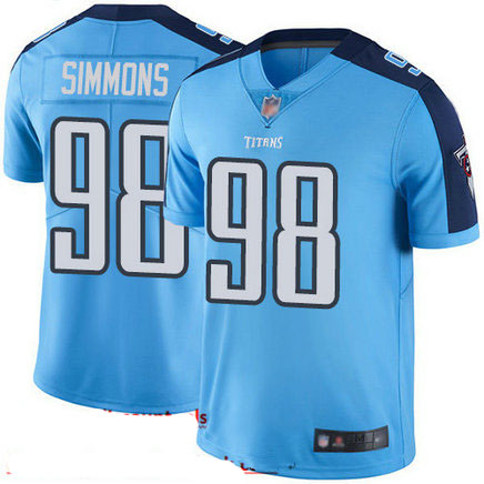 Titans #98 Jeffery Simmons Light Blue Youth Stitched Football Limited Rush Jersey