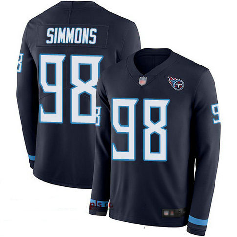 Titans #98 Jeffery Simmons Navy Blue Team Color Youth Stitched Football Limited Therma Long Sleeve Jersey