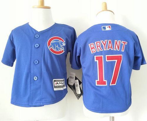 Toddler Chicago Cubs 17 Kris Bryant Blue Cool Base Baseball Jersey