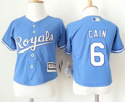 Toddler Kansas City Royals 6 Lorenzo Cain Light Blue Alternate 1 Cool Base Baseball Jersey