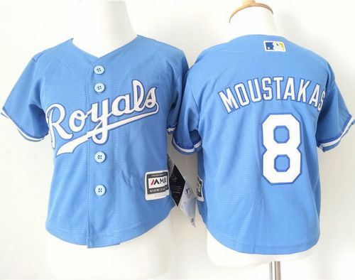 Toddler Kansas City Royals 8 Mike Moustakas Light Blue Alternate 1 Cool Base Baseball Jersey