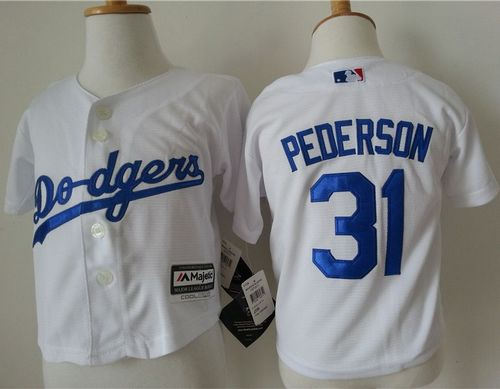 Toddler Los Angeles Dodgers 31 Joc Pederson White Cool Base Baseball Jersey