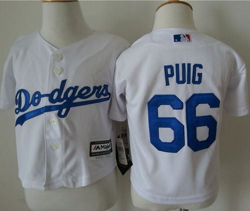 Toddler Los Angeles Dodgers 66 Yasiel Puig White Cool Base Baseball Jersey