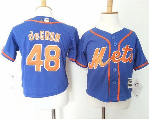 Toddler New York Mets 48 Jacob DeGrom Blue Alternate Home Cool Base Baseball Jersey