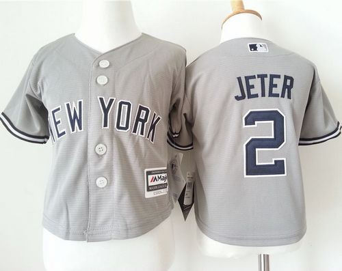 Toddler New York Yankees 2 Derek Jeter Grey Cool Base Baseball Jersey