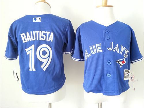 Toddler Toronto Blue Jays 19 Jose Bautista Blue Cool Base Baseball Jersey