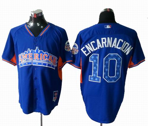 Toronto Blue Jays 10# Edwin Encarnacion American League 2013 All Star blue Jersey