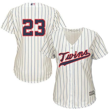 Twins #23 Nelson Cruz Cream Strip Alternate Women's Stitched Baseball Jersey