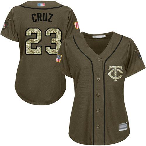 Twins #23 Nelson Cruz Green Salute to Service Women's Stitched Baseball Jersey