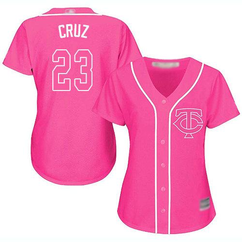 Twins #23 Nelson Cruz Pink Fashion Women's Stitched Baseball Jersey