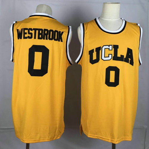 UCLA Bruins 0 Russell Westbrook Yellow College Basketball Jersey