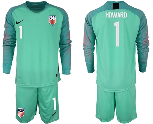 USA #1 Howard Green Long Sleeves Goalkeeper Soccer Country Jersey