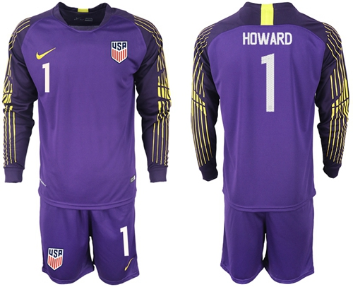 USA #1 Howard Purple Goalkeeper Long Sleeves Soccer Country Jersey