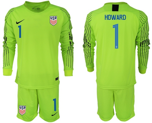 USA #1 Howard Shiny Green Goalkeeper Long Sleeves Soccer Country Jersey