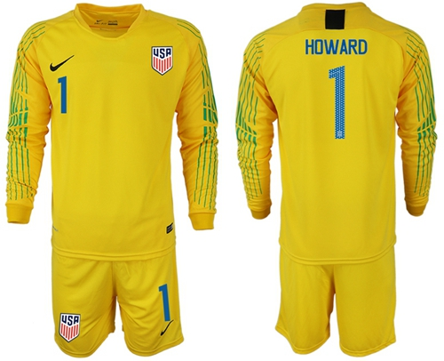USA #1 Howard Yellow Goalkeeper Long Sleeves Soccer Country Jersey