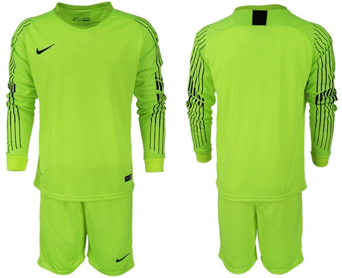 USA Blank Shiny Green Goalkeeper Long Sleeves Soccer Country Jersey